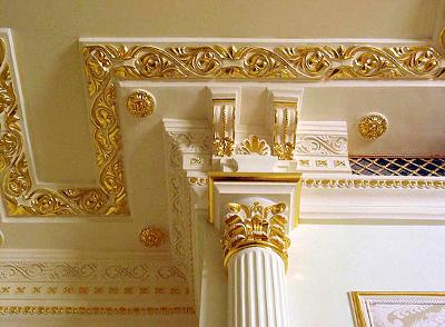 Золочение сусальным золотом и поталью в интерьере