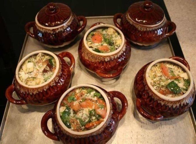 Суп с бараниной и овощами в горшочке